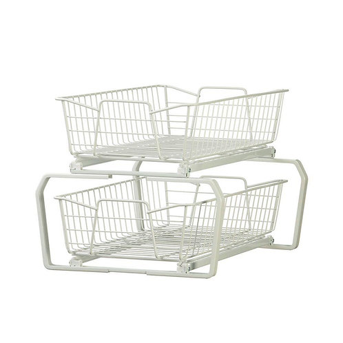ClosetMaid 12.11 in. W 2-Tier Ventilated Wire Sliding Cabinet Organizer in White