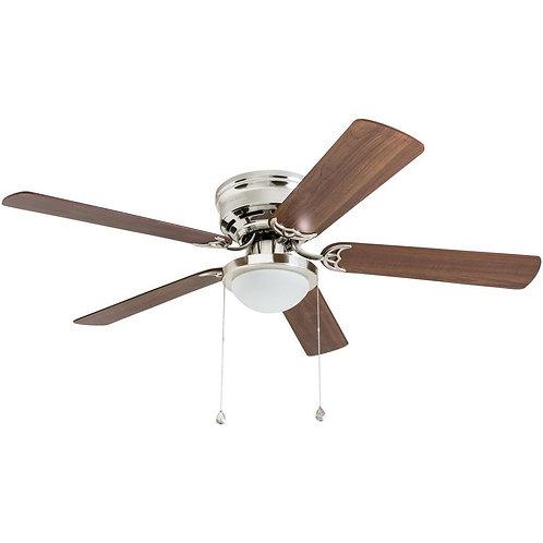 Harbor Breeze Armitage 52-in Brushed Nickel LED Indoor Flush Mount Ceiling Fan w