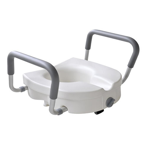 Glacier Bay 1-Piece Adjustable Elevated Toilet Seat in White Color