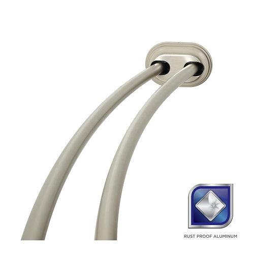 Glacier Bay 72 in. Rustproof Adjustable Double Tension Curved Shower Rod in Brus