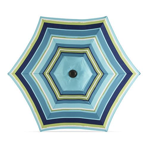 Garden Treasures Blue Multi-stripe Market 7.5-ft Round Patio Umbrella with Dark