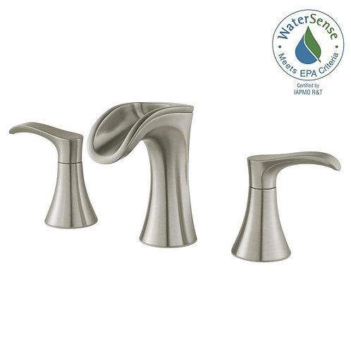 Brea 8 in Widespread 2 Handle Waterfall Bathroom Faucet - Brushed Nickel