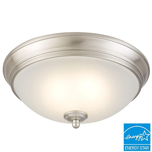 Commercial Electric 11 in. 60-Watt Equivalent Brushed Nickel Integrated LED Flus