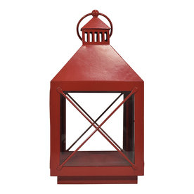 allen + roth 8-in x 14.4-in Red Powder Coated Metal Pillar Candle Outdoor Decora