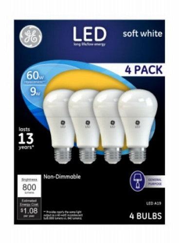 G E Lighting 61986 LED Light Bulbs, Soft White, 800 Lumens, 9-Watts, 4-Pk.