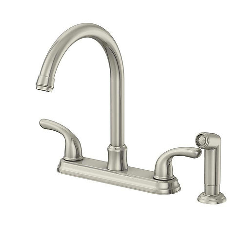 Glacier Bay Builders 2-Handle Standard Kitchen Faucet with Sprayer in Stainless