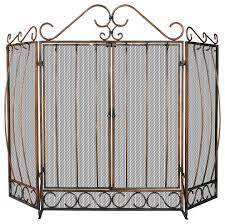 Venetian Bronze 3-Panel Fireplace Screen with Doors and Bowed Bar Scrollwork