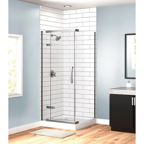 36 in. x 36 in. x 76 in. 3-Piece Cnr Frameless Shower Enclosure in Stainless