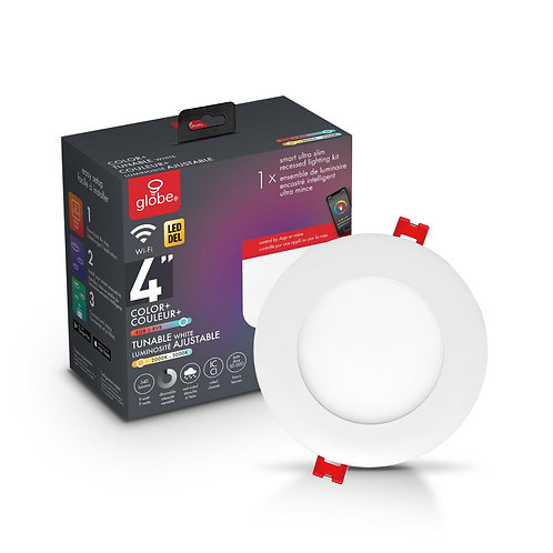 Globe Electric 4 in. Wi-Fi Smart Color Changing RGB Tunable