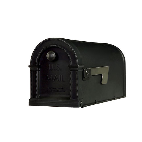 Gibraltar Mailboxes Lincoln Decorative Plastic Post-Mount Mailbox, Black