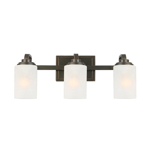 Hampton Bay 3-Light Oil-Rubbed Bronze Vanity Light with Frosted Patterned Glass