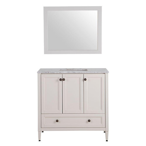 Claxby 37 in. W x 19 in. D Bath Vanity in Cream with Stone Effects Vanity Top in