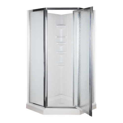38 in. x 38 in. x 74-1/4 in. Neo-Angle Shower Kit in White and Chrome