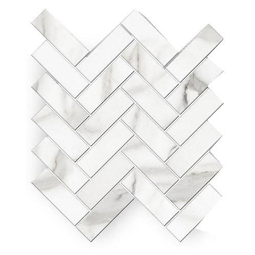 Florida Tile Avante Bianco 12 in. x 15 in. x 9 mm Porcelain Herringbone Mosaic T