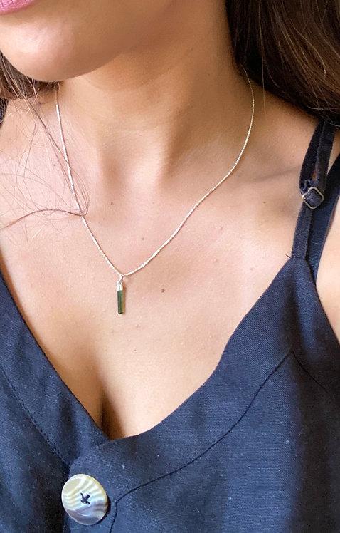 Pingente de Turmalina Verde - Prata 925