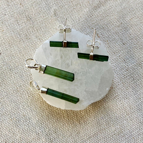 Brinco de Turmalina Verde - Prata 925