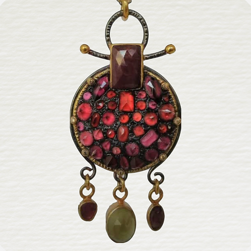 Pink and Red Tourmaline Pendant