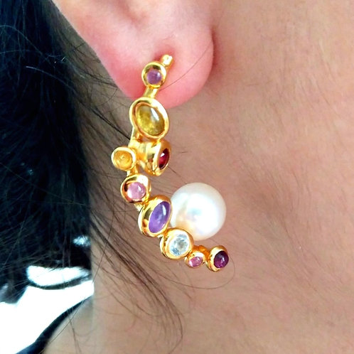 Tourmaline and Pearl Earrings