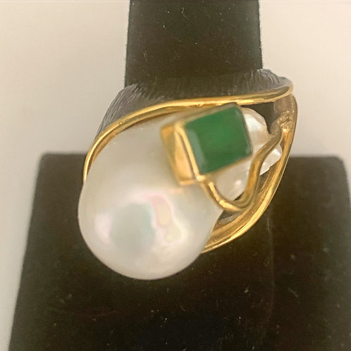 Baroque Pearl and Emerald Ring