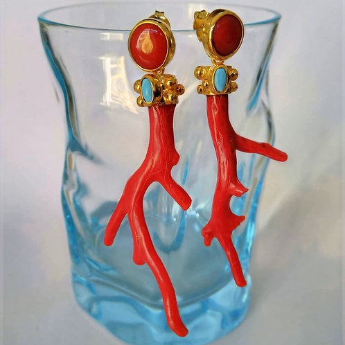 Marruecan Coral and Turquoise Earrings