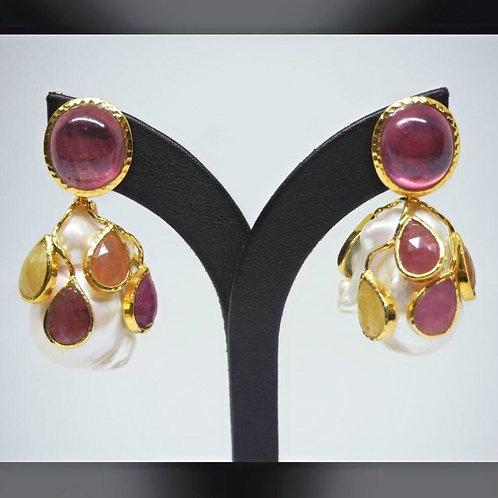 Baroque Pearl and Tourmaline Earrings
