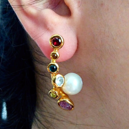 Tourmaline, Garnet and Pearl Earrings