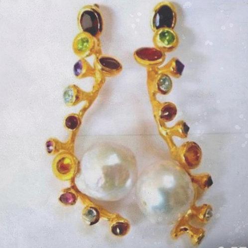 Baroque Pearls and Multi-Gem Earrings