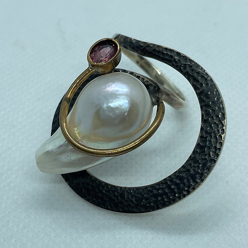 Baroque Pearl and Tourmaline Ring