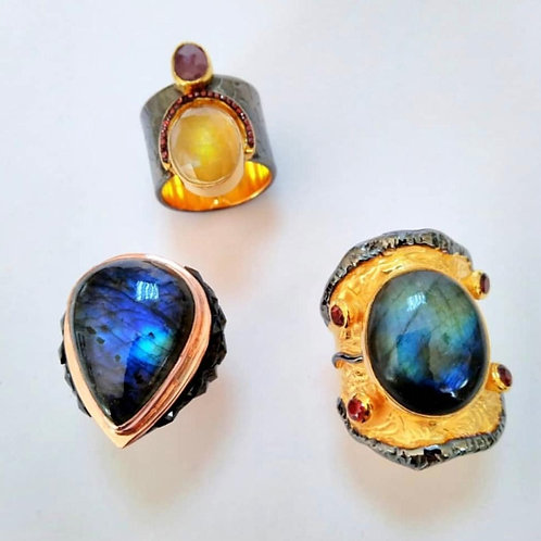 Labradorite, Lapis and Citrine Rings