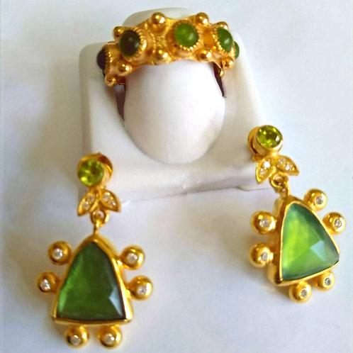Aventurine Earrings and Ring Set