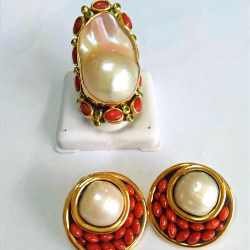 Coral and Baroque Pearl Ring