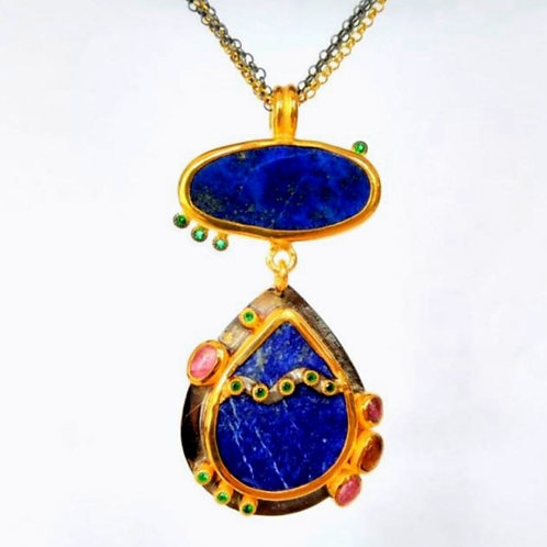 Lapis Lazuli and Tourmaline Pendat