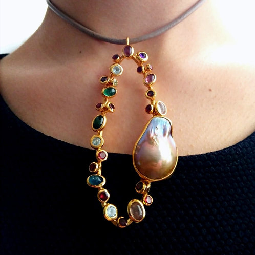 Tourmaline and Baroque Pearl Pendant