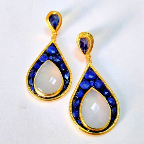 Lapis and Moonstone Earrings