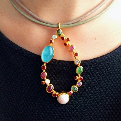 Statement Multicolor Tourmaline and Pearl Pendant