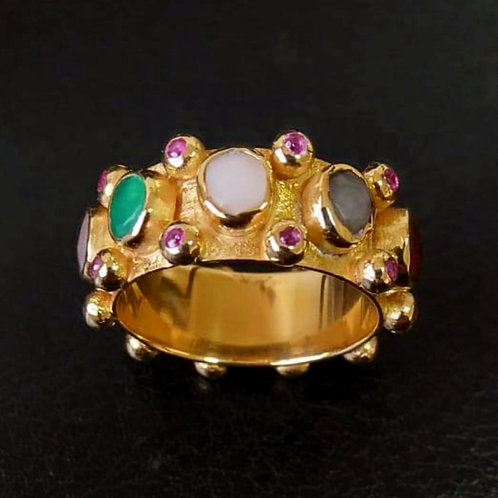 Tourmalines over 22 Carat Gold Filled Sterling Silver RIng