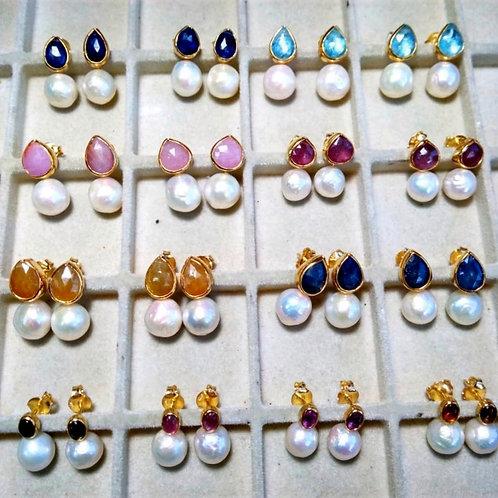 Pearl and Multi-Gem Earrings