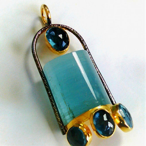 Tourmaline and Blue Safires Pendant