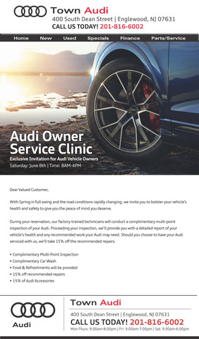 TOA-191 Audi Owner Service Clinic Email
