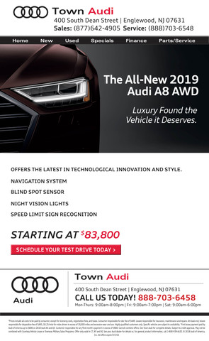 TOA-186 2019 Audi A8 Announcement Email