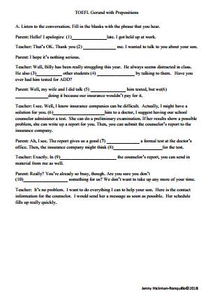 Grammar and Listening: Gerunds with Prepositions: Parent Teacher