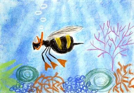 The bumble bee, swims in the sea, When it's on holiday,