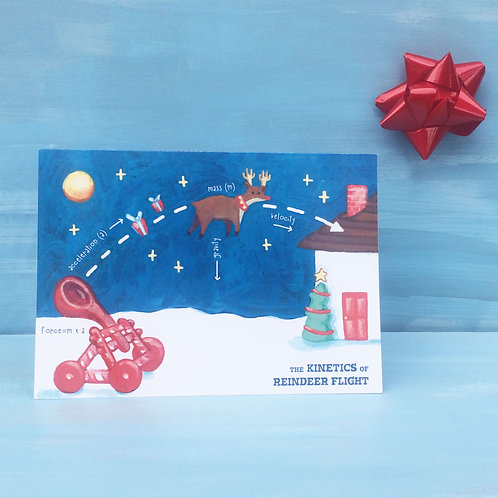 Science-X-Mas - Kinetics of Reindeer Flight Card