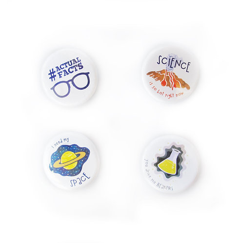 Nerdy Science Buttons