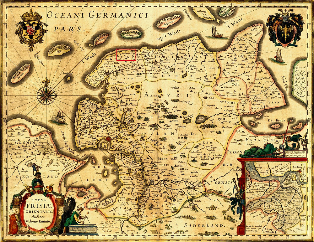 map East Frisia by Ubbo Emmius, AD 1616