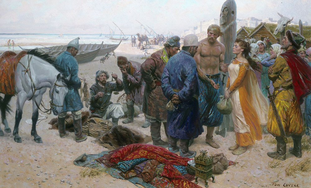 Viking selling slave girl to Persian merchants