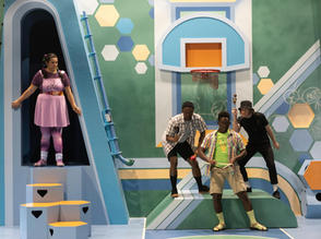 (L-R) Savanna Padilla, Corneilus Franklin, Anthony Adu and Lee Vignes in La Jolla Playhouse's 2021 Performance Outreach Program (POP) Tour production of Pick Me Last, by Idris Goodwin, directed by Jacole Kitchen; photo by Dig That Photography.