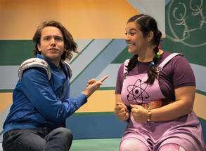 Lee Vignes and Savanna Padilla in La Jolla Playhouse's 2021 Performance Outreach Program (POP) Tour production of Pick Me Last, by Idris Goodwin, directed by Jacole Kitchen; photo by Dig That Photography.