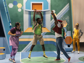 (L-R) Savanna Padilla, Anthony Adu, Corneilus Franklin, Cody Sloan and Emily Stout in La Jolla Playhouse's 2021 Performance Outreach Program (POP) Tour production of Pick Me Last, by Idris Goodwin, directed by Jacole Kitchen; photo by Dig That Photography.