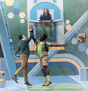 L-R) Cody Sloan, Anthony Adu, Lee Vignes and Emily Stout in La Jolla Playhouse's 2021 Performance Outreach Program (POP) Tour production of Pick Me Last, by Idris Goodwin, directed by Jacole Kitchen; photo by Dig That Photography.